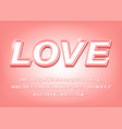 3d pink alphabet love bold font vector image vector image