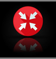 arrows icon red sign with reflection on black vector image vector image