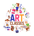 art classes banner girl and vector image vector image