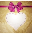 beige vintage heart frame with glossy red bow vector image