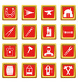 blacksmith icons set red vector image vector image