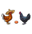 brown egg chicken and rooster sketch set vector image vector image
