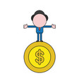 businessman character standing on dollar coin vector image vector image