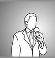 businessman hoding microphone on his left hand vector image