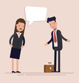 businesswoman boss shouts at the man employee or vector image