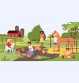 children in contact zoo happy kids and animals vector image