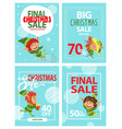 christmas sale posters with eves and xmas gifts vector image