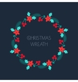 Christmas wreath with rowanberryfir branches vector image