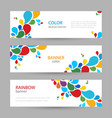colored ink set horizontal banners with empty vector image vector image