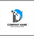 dolphine tech logo vector image vector image