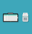 flat tablet and mini printer with paper design vector image