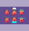 funny tomato set cute vegetable characters in vector image vector image