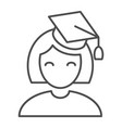 graduate girl thin line icon student vector image