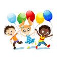 happy children with balloons in their hands vector image