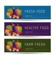 healthy food flyer templates with vegetables vector image