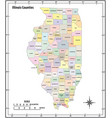 illinois state outline administrative map vector image vector image