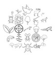 locality icons set outline style vector image