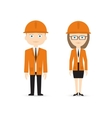male and female constructor in orange suits vector image vector image