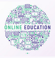 online education concept in circle vector image vector image