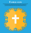 religious cross Christian icon Floral flat design vector image vector image