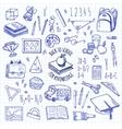 School tools sketch blue icons set vector image vector image