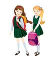 schoolgirls vector image