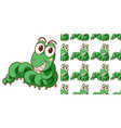seamless background design with green caterpillar vector image vector image
