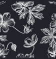 seamless pattern with hand drawn chalk meadow vector image vector image