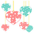 set of colored isolated pendants in the shape of vector image