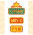 Set of glowing retro cinema neon signs vector image vector image