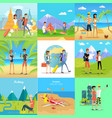 set of people on vacation flat concepts vector image vector image