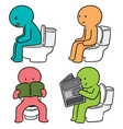 set of people use flush toilet vector image