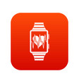 smartwatch with sport app icon digital red vector image vector image