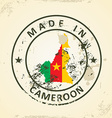 Stamp with map flag of Cameroon vector image vector image