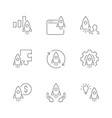 startup linear icons on white background project vector image