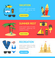 summer rest banner horizontal set vector image vector image