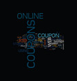 the concept of coupons text background word cloud vector image vector image