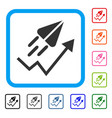 ton launch trend arrow framed icon vector image
