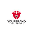 two feet and heart logo design concept template vector image