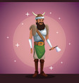 viking man costume party in spotlight background vector image