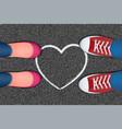 white heart pictured on asphalt vector image vector image