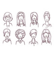 woman portrait sketch set on white background vector image