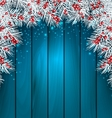 Christmas Wooden Background with Fir Tree Twigs vector image