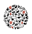 magician icons in circle vector image