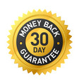 30 day money back guarantee label vector image vector image