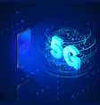 5g fast mobile networks mobile phone and hologram vector image vector image