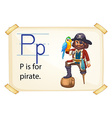 A letter P for pirate vector image vector image