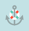anchor and swim ring nautical icon flat design vector image vector image