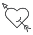 arrow and heart line icon romance and love vector image