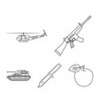 assault rifle m16 helicopter tank combat knife vector image vector image